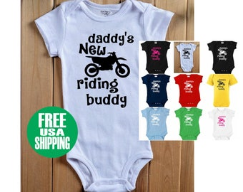 daddy's New riding buddy Baby Onesie One Piece Shirt Bodysuit Creeper Dirt Bike Motorcycle Mx Sx Future Racer Shower Gift Flat Track Racing