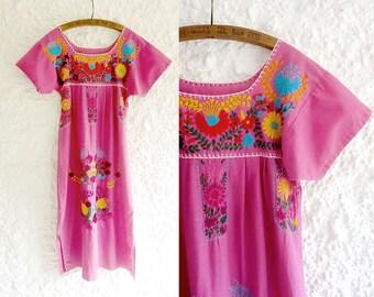 Vintage Oaxacan dress / Floradita dress / Mexican embroidered dress / bohemian wedding dress / hippie / goddess
