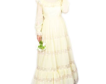 Vintage 70s Maxi Wedding Dress Ivory Beige UK10 Peasant Prairie Hippie Boho Lace