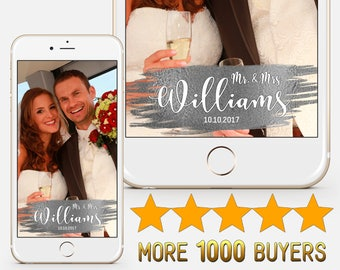 CUSTOM, Wedding geofilter snapchat Silver geofilter Wedding snapchat Mr and Mrs Bridal shower geofilter Just married Party filter S169