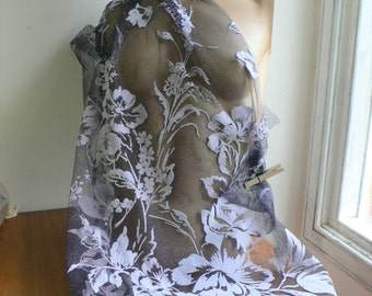 SALE Couture dress fabric Frosty tulle & flower flock design remnant