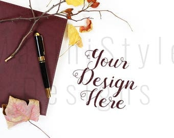 Fall Styled Desktop Mockup, Autumn Office Desk, Styled Stock Photography, Stock image, Stock Photo, Mock up, Thanksgiving, Halloween, 546