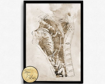 Anatomy head and neck,Watercolor print, Anatomy Art, Poster ,Human Head and Neck, Medical Art (1197)