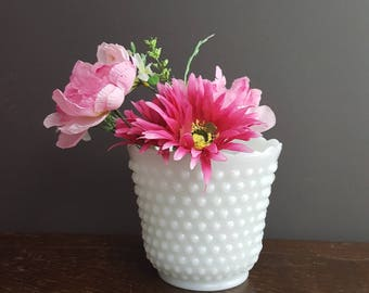 Vintage Anchor Hocking Hobnail Milk Glass Flower Pot Planter or Wedding Centerpiece 8.4