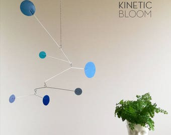 mid century calder mobile, blue mobile, dots circles, kinetic art, sculpture