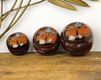Set of 3 boxes painted Burmese - Burmese lacquerware box