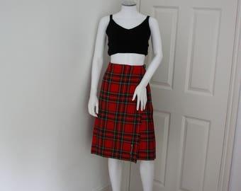 Women's kilt, vintage tartan skirt, plaid skirt, preppy midi skirt, red tartan skirt, punk style skirt, pleated tartan skirt, pleat skirt