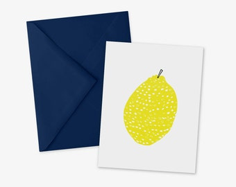Lemon card, A2, Citrus Note Card, Lemon greeting card, Minimalist Fruit Art, Blank Inside, stationery, fruit art, Heavy Card Stock, Recycled
