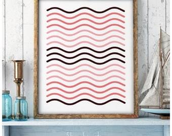 Coral pink Waves, Minimalist wall art, Geometry waves, Minimal Design, Scandinavian Art, Waves Poster, Waves Wall Art, Shades of Coral pink