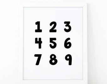 Numbers Print, 123 print, Numbers Wall Art Set, Numbers set, Instant Download, Nursery Wall Art, 123 Wall Art, room decor, Numbers print