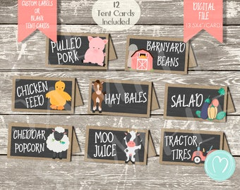 Farm Animals Birthday Party FOOD LABELS/ Tent Cards/Barnyard Girl Birthday Party/Party Decor/DIY/Printable File/Old Macdonald/Chalkboard