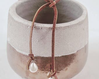 Leather Lariat Necklace- Choker Necklace- Pearl Necklace- Wrap Necklace