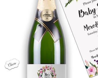 Baby Shower Champagne Labels - CUSTOM She's About To Pop Wine Bottle Labels - She's Ready to POP Baby Shower Favors Weatherproof, Waterproof
