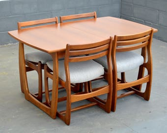 Mid Century Modern Furniture - Dining Table with Four Chairs - Vintage - Retro - Teak Furniture