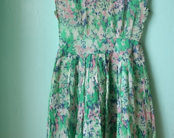 50s Sleeveless French Floral Watercolor Dress