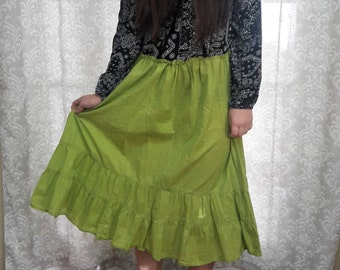 Green and black boho hippie dress, Eco friendly upcycled hippie dress, Festival clothing, Festival Gyspy Dress, Black and Green Gypsy Dress