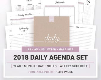 2018 DAILY AGENDA SET, printable, yearly and monthly calendar, daily planner, note pages, weekly schedule, A5, A4, Letter & half size