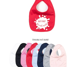 But first breast milk, breast feeding bib, baby bib, breast milk bib, feeding bib, organic cotton, breast fed baby, baby shower gift