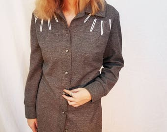 60s Gray Coat Dress. Swing Coat. Long Jacket. Button dress. Size Large or XL