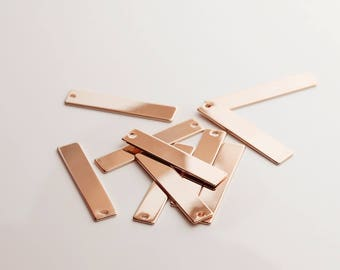 10Pcs Personalized Vertical Stamping Blank Bar, Rose Gold Pendant, Tag Pendant, Ready to stamp, Jewelry Supply, Craft Supplies 10P8-R