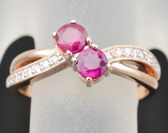 ENGAGEMENT ROSE Gold Diamond Ring, Rose Gold Diamond Engagement Ring, Wedding Ring,Anniversary  Rose Gold Diamond  Ring