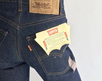Deadstock (27 x 32) Vintage Levis Jeans Dark Wash 20505 0217 Orange Tab | USA made NOS NWT Never Worn Tags Raw Denim 1978 70s