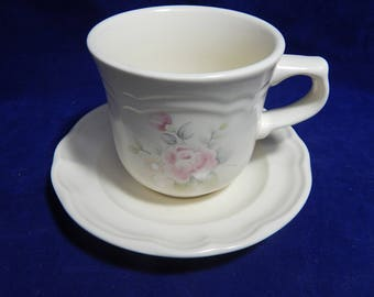 """Pfaltzgraff Tea Rose Flat Cup and Saucer - 5.75"""" Saucer - 3.25"""" Cup -  FREE Shipping"""