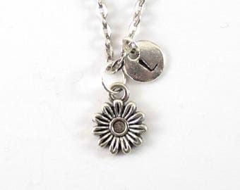 DAISY charm necklace, silver tone daisy flower charm, personalized necklace, initial necklace, personalized jewelry, initial jewelry, gift
