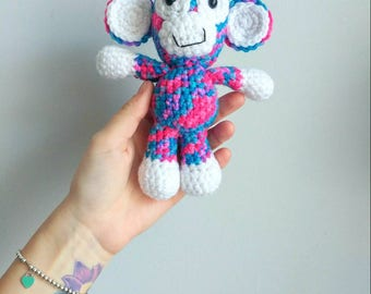 READY TO SHIP, Miracle the Monkey, Crochet Monkey, Amigurumi Animal, Rainbow, Stuffed Animal Monkey, sock monkey, baby shower gift, toy