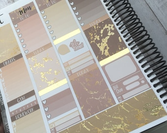 Gold Foil Marble Weekly Kit Planner Stickers - For Erin Condren Life Planner