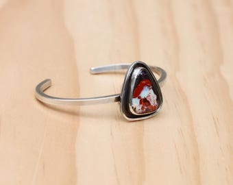 Mexican Fire Opal Cuff // Sterling Silver
