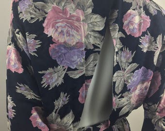 Vintage Regina Kravitz New York Peplum Styled Dress with Floral Print and Open Back/Size 8