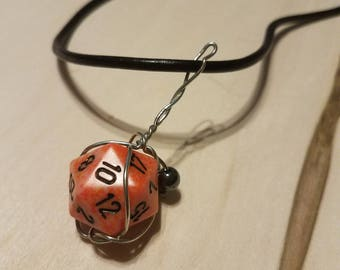 D20 Silver-plated Wire-wrapped Removable Dice Necklace
