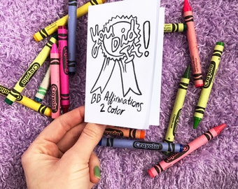 Mini zine for self care - coloring zine - congratulations card - adult coloring - rewards for children - positive affirmations