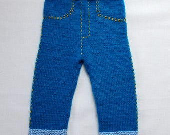 Hand knitted baby pants jeans warm soft winter navy blue