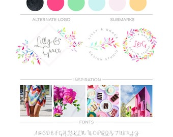Premade Branding Kit Branch Logo Wreath Logo Design, Laurel Leaf Logo Photography Branding Package Watercolor Leaves Logo Event Planner Logo