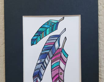 Eclectic Feathers - Original Ink and Colored Pencil 5x7 Matted - Original art, sketch, trio