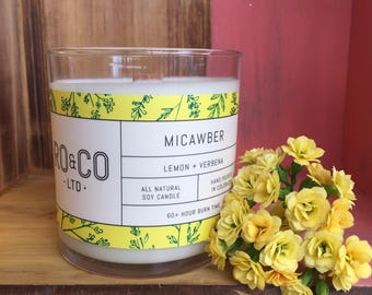 Lemon + Verbena Candle  Hand Poured All Natural Soy Wax Eco Friendly Phthalate Free
