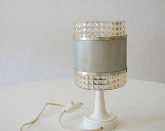 Vintage table lamp 1950 grey silver space age plastic white Sputnik