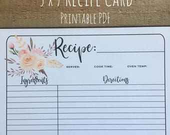Recipe Card | Meal Planner | 4x6 | 5x7 | Printable PDF | Meal Planning, Menu Plan | Instant Download