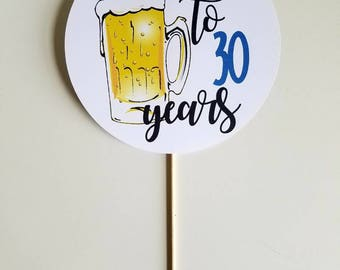 Cheers to (#) years cake topper. Custom color. Beer cake topper