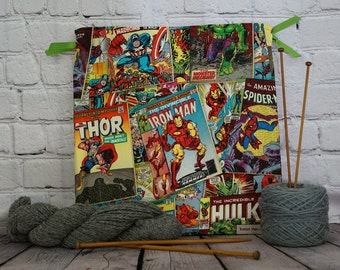 Marvel Comics/ Captain America/ Hulk/ Thor/ Iron Man Knitting Bag, Crochet Bag, Yarn Bag, Project Bag, Drawstring bag, Sock knitting bag