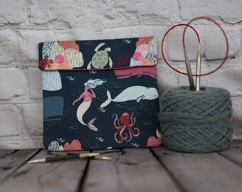Whales and Mermaids Circular Knitting Needles Case or Knitting Notions Case, Crochet notions case, Accessories case, Circular Case