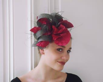 Pink Fascinator,Large Flower Fascinator,Wedding Fascinator,Races Fascinator,Large Poppy Fascinator,Ball headpiece,Races Headwear-Kamala