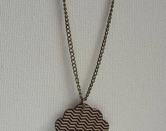 bronze pendant necklace wood black and white cloud
