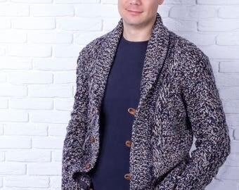 Custom Men's hand knit Cardigan,  Made to order model, Replica cardigan, Hand Knit Stylish Sweater, Casual Wool Cardigan