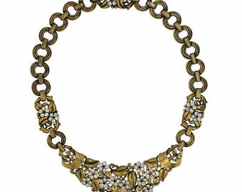 Trifari 1940s Rhinestone Floral Design and Gilt Metal Vintage Necklace