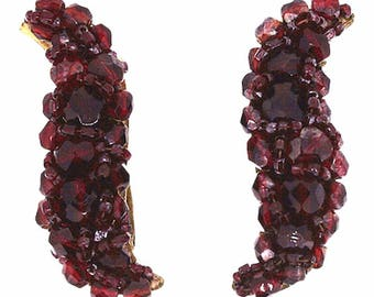 Coppola e Toppo 1950s Red Glass Bead Vintage Crescent Earrings