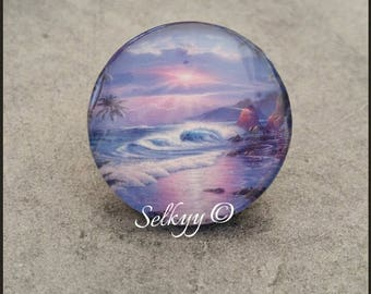 Round glass dome 25mm Beach fairy magical cabochon
