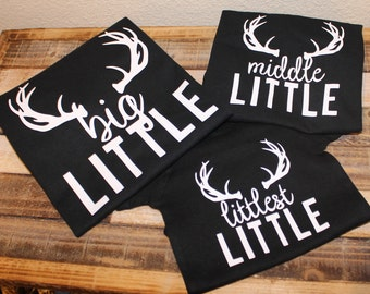 Sibling shirts; Kids hunting shirt; Sibling matching shirts; New baby announcement shirts; big middle little shirts; baby announcement shirt